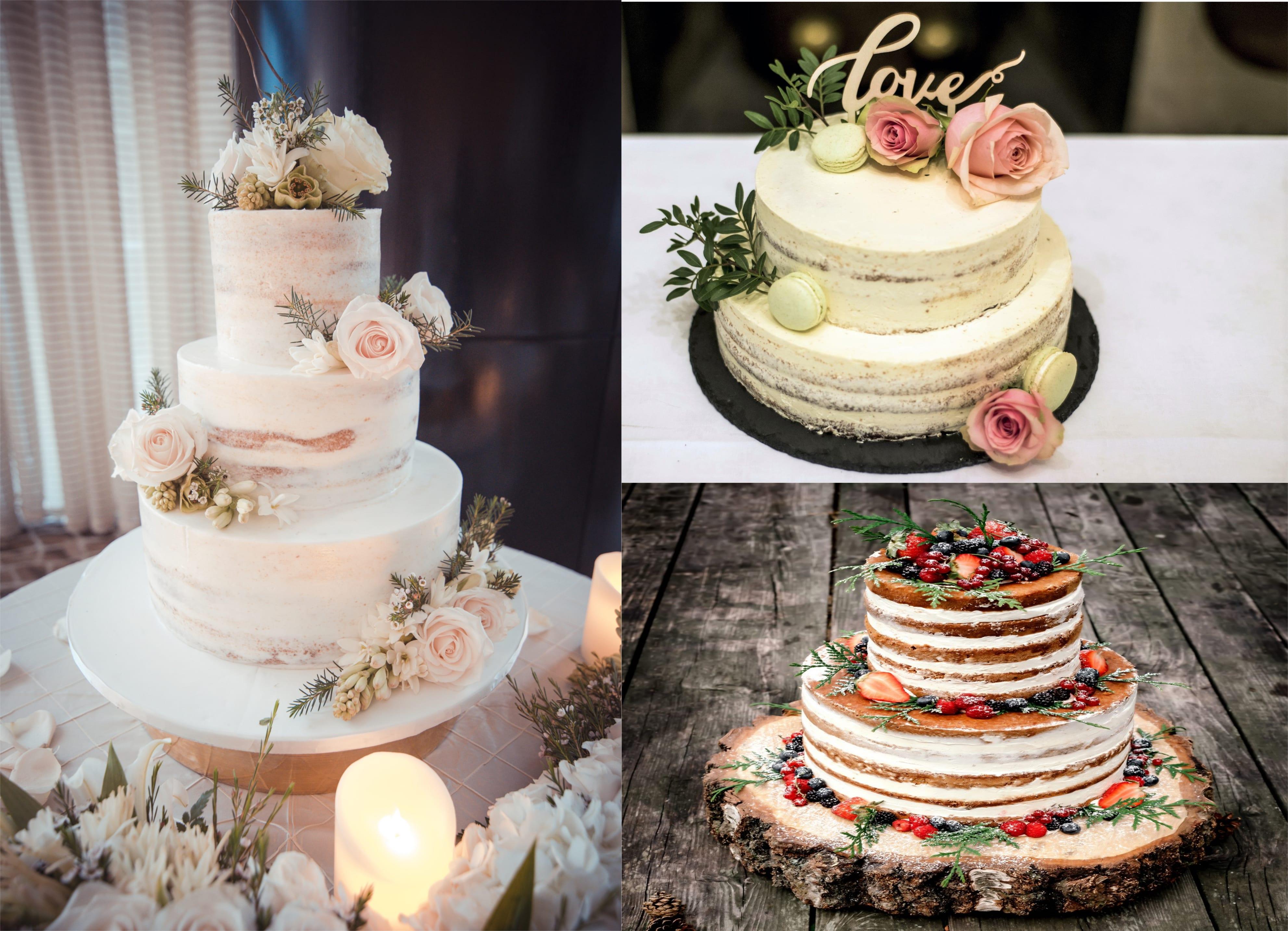 tort slubny typu naked cake z owocami i kwiatami